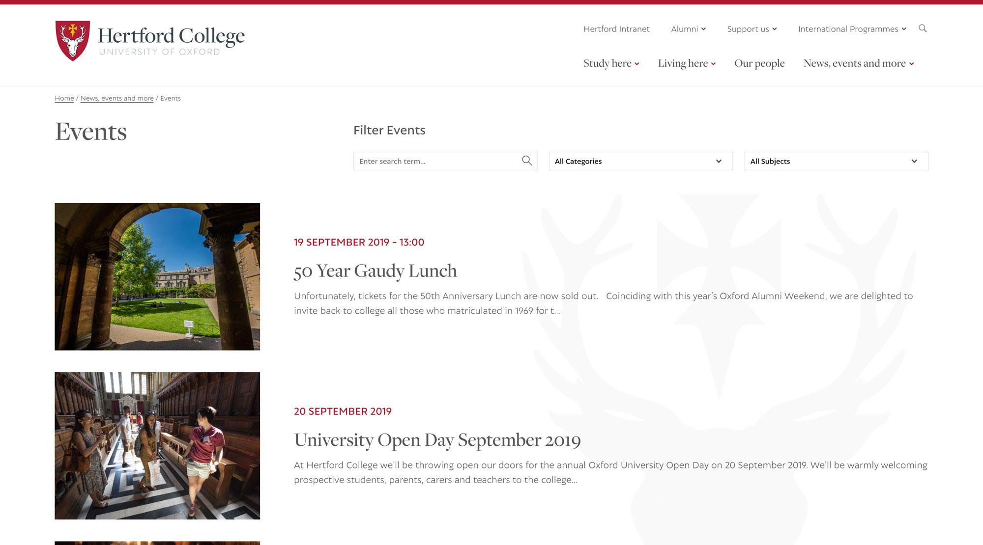 Hertford College screenshot